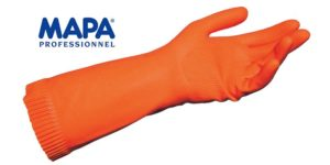 Par guante latex natural naranja flocado satinado. NO DROP 182