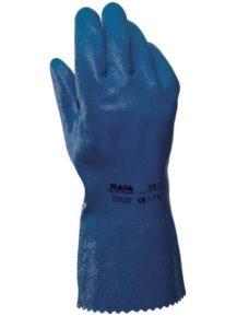 Par de guante nitrilo puno largo soporte textil. TITAN 393